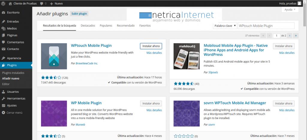 WPtouch Mobile Plugin imagen 1