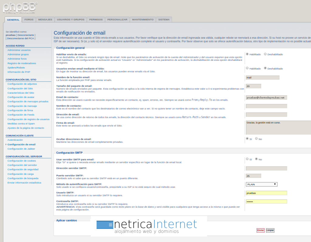 Guías phpBB3: configurar email en phpBB - NETRICA®
