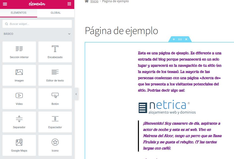 Extensión para editar una página de forma visual en WordPress