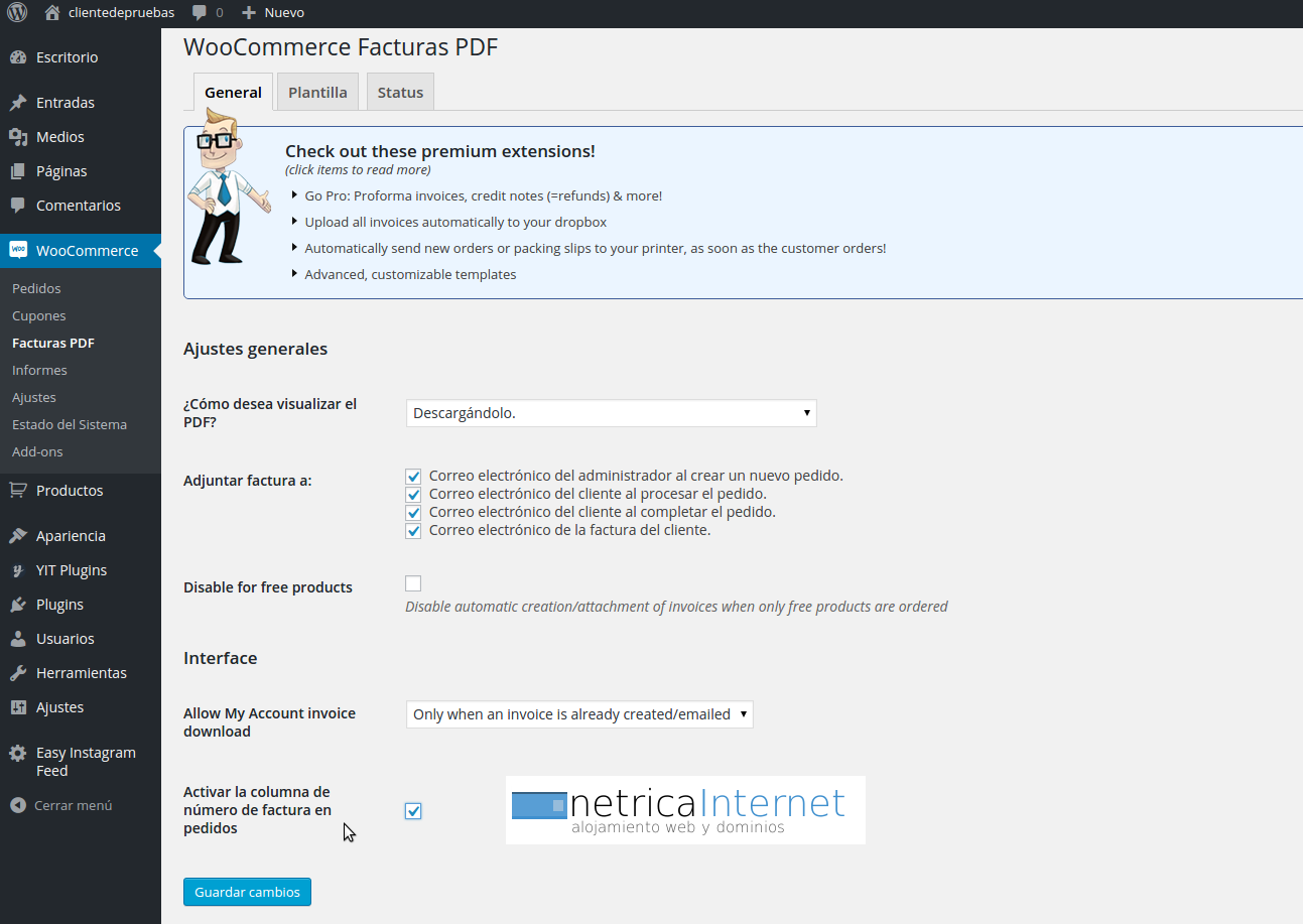 Guías WordPress: plugin para crear facturas en WooCommerce - NETRICA®