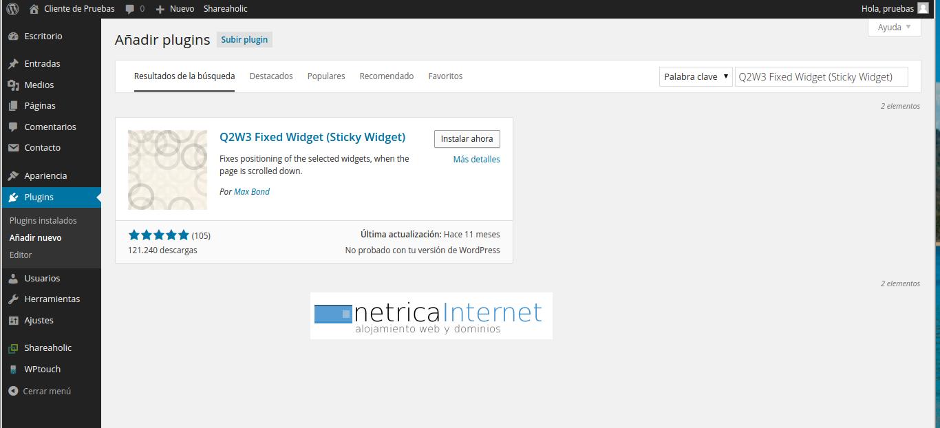 plugin Q2W3 Fixed Widget imagen 1
