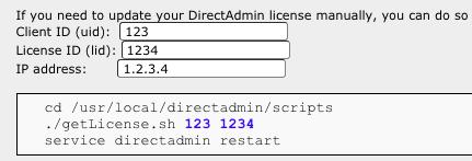 Cómo renovar la licencia de DirectAdmin de forma manual